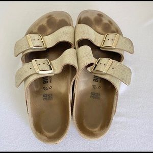 Birkenstock Arizona SL Sandal Washed Metallic Gold